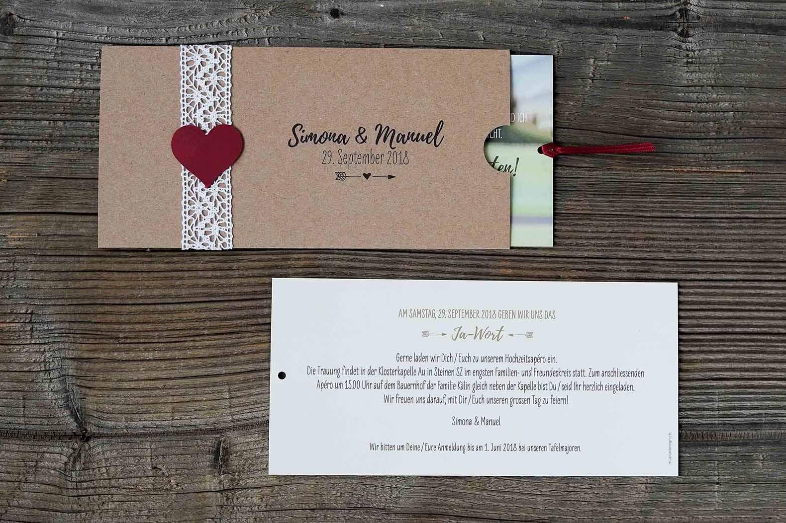 Hochzeitskarte von Bruno und Nadine Wipfli