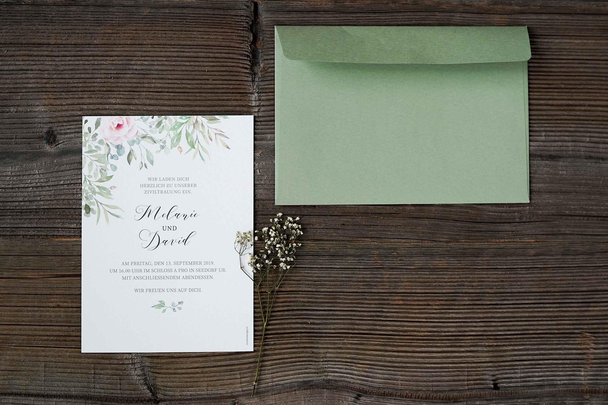 Hochzeitdankeskarte von Erwin und Tanja Betschart