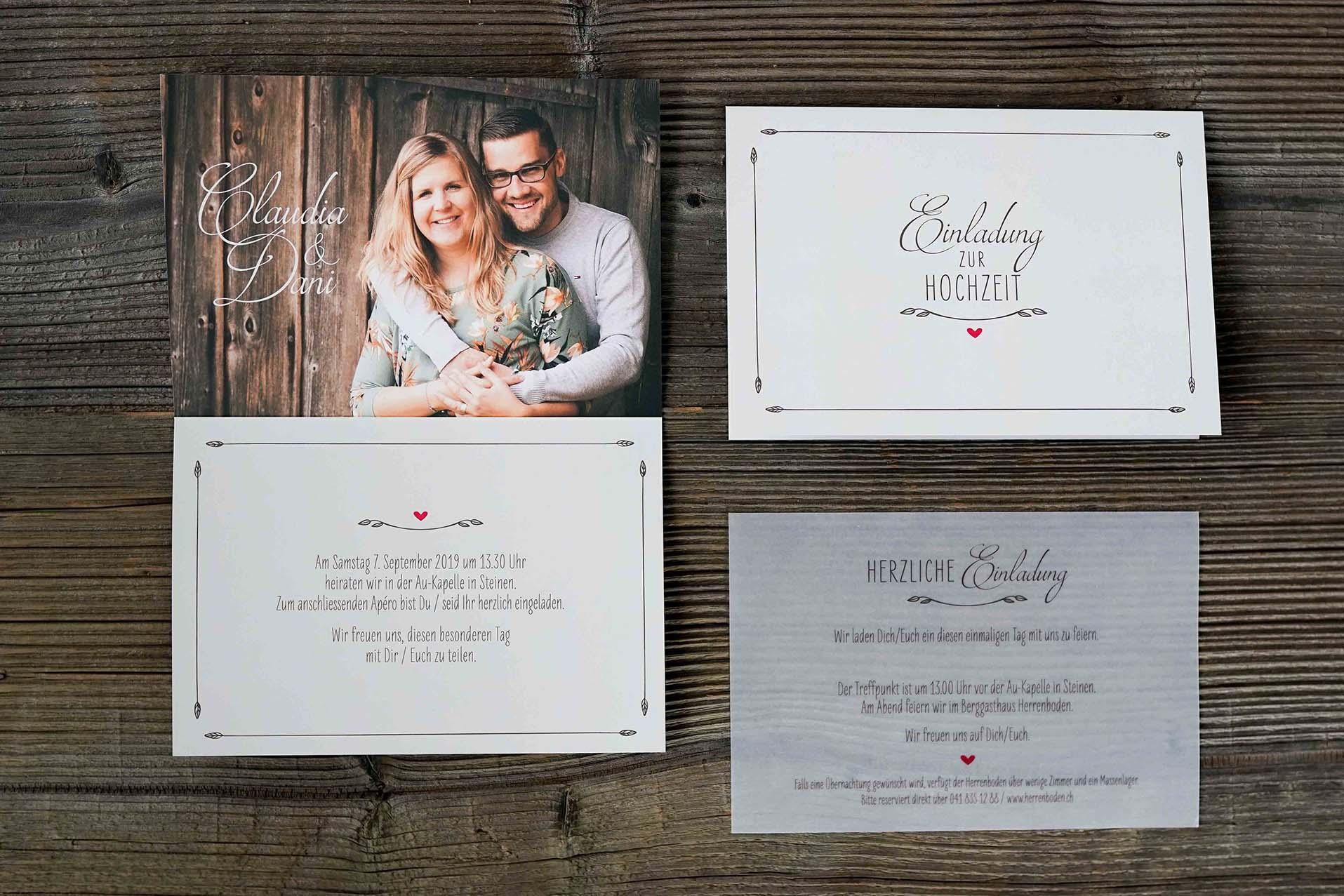 Hochzeitskarte Daniel & Claudia