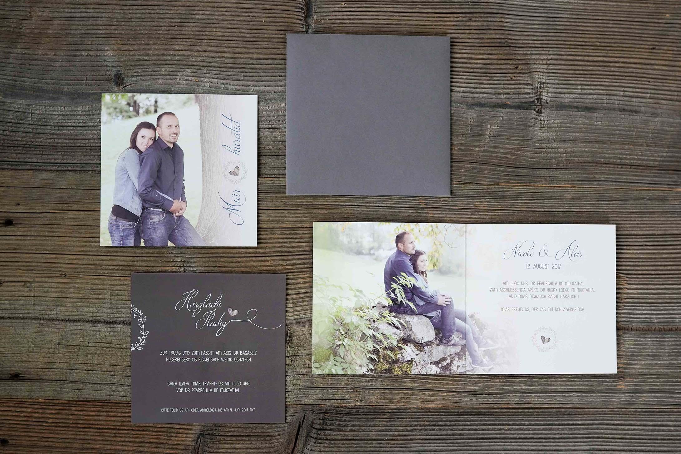 Hochzeitskarte Alois & Nicole