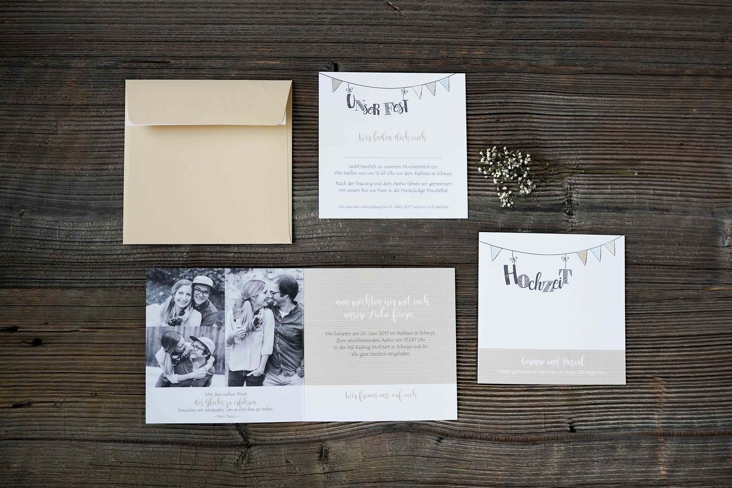 Hochzeitseinladung Pascal & Corinne