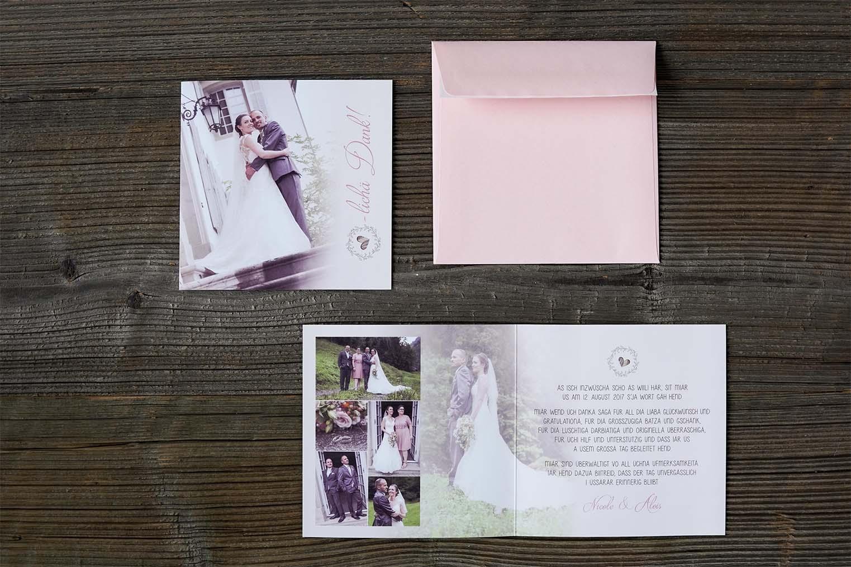 Hochzeitsdankeskarte Alois & Nicole