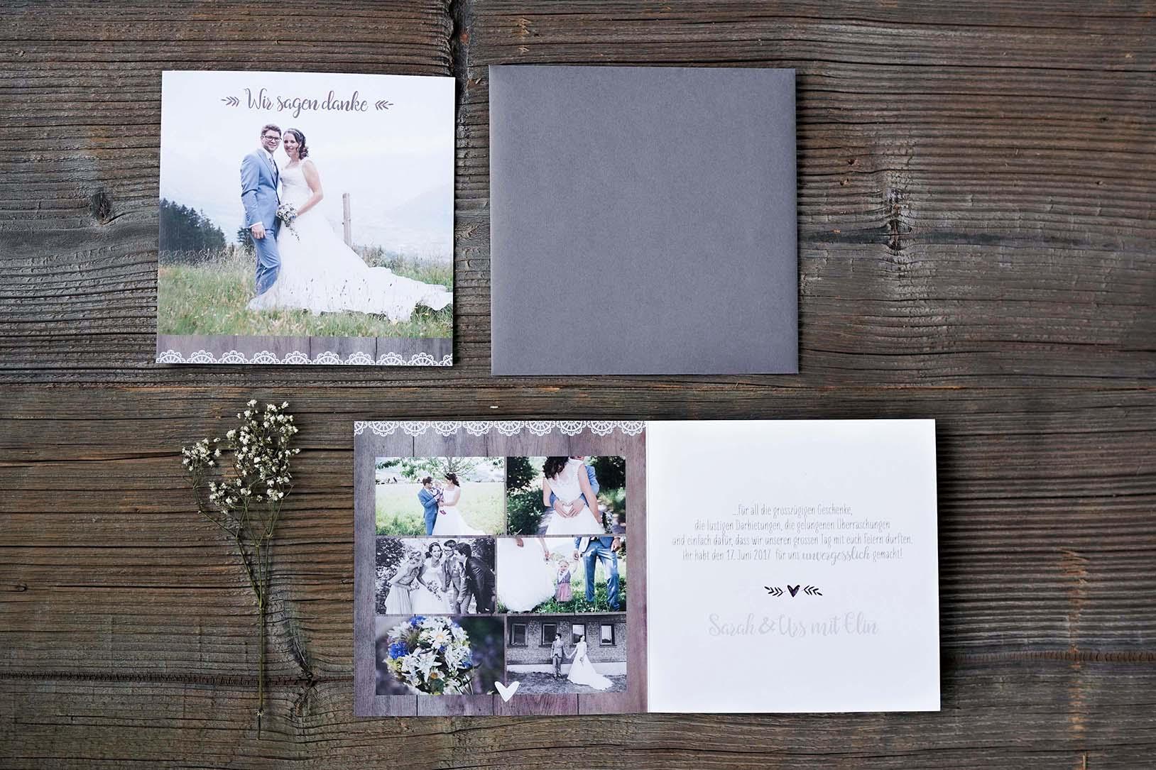 Hochzeitsdankeskarte Urs & Sarah