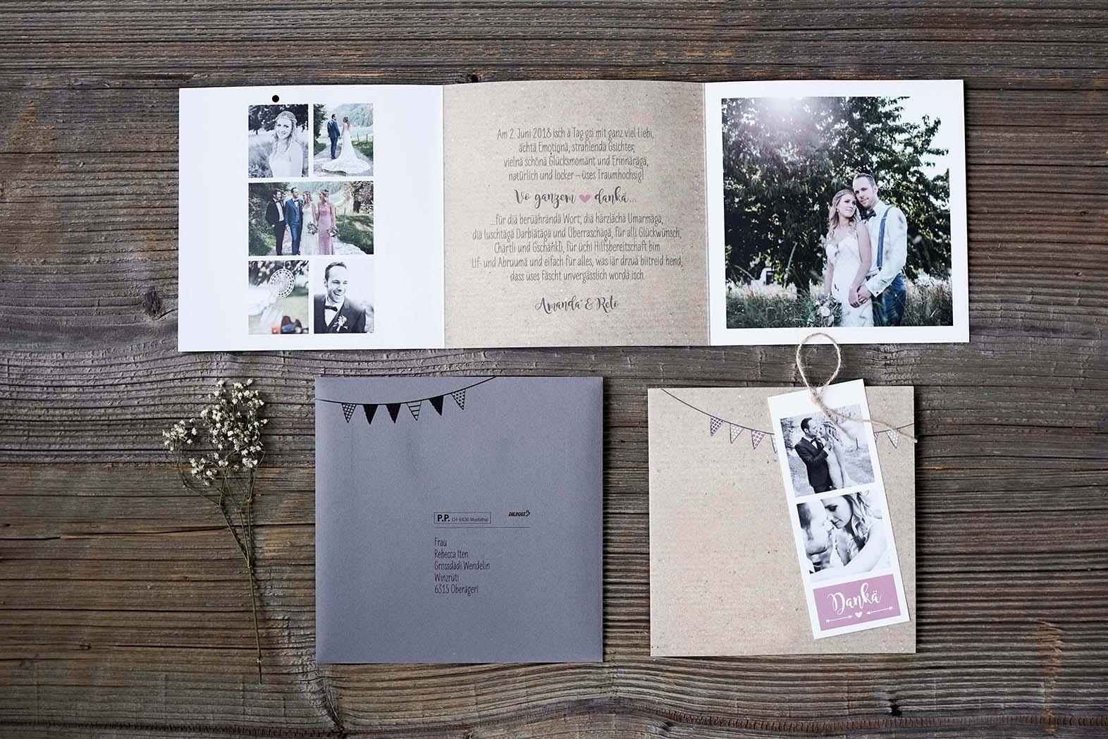 Hochzeitsdankeskarte Reto & Amanda