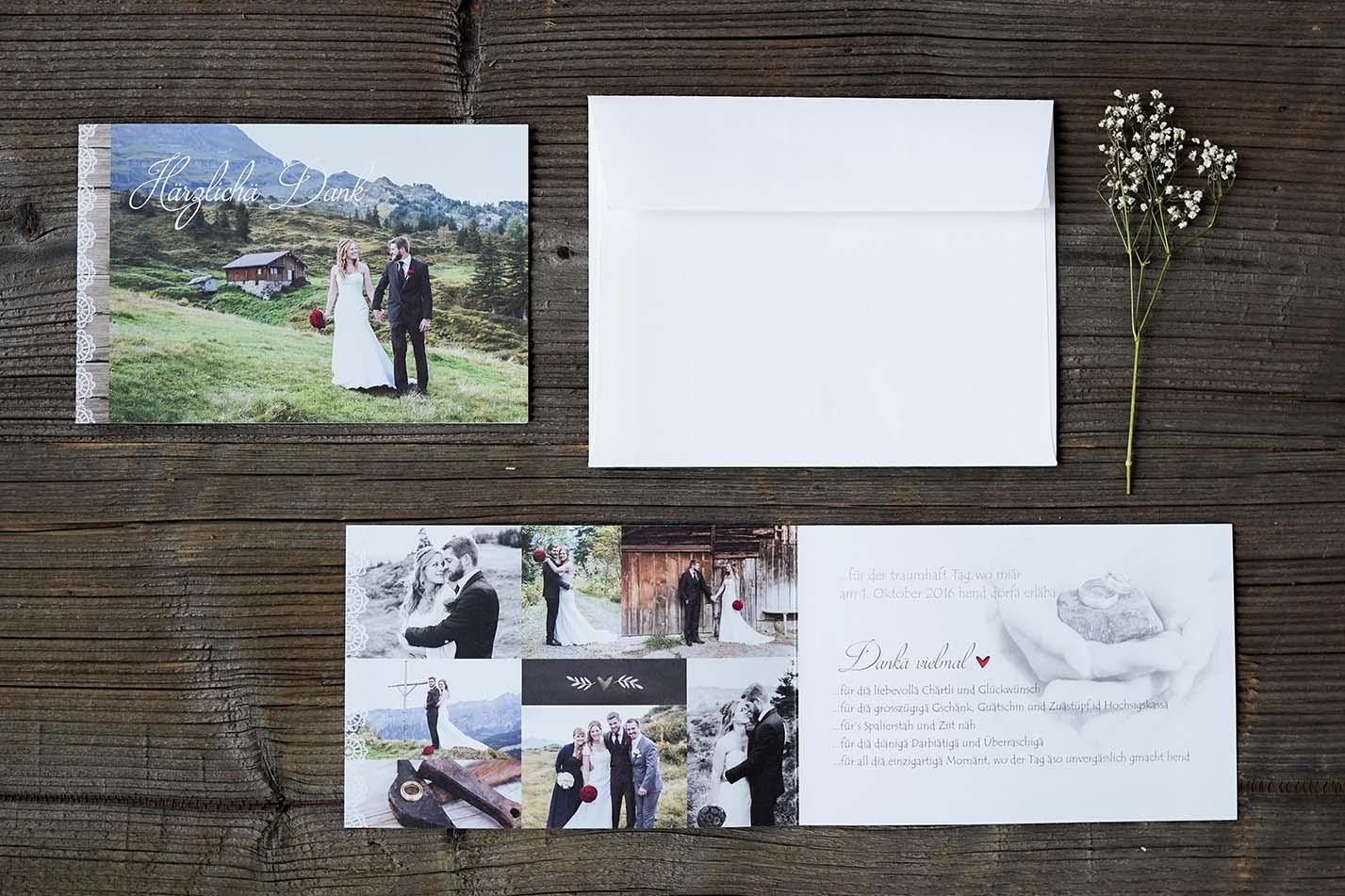 Hochzeitsdankeskarte Daniel & Luzia