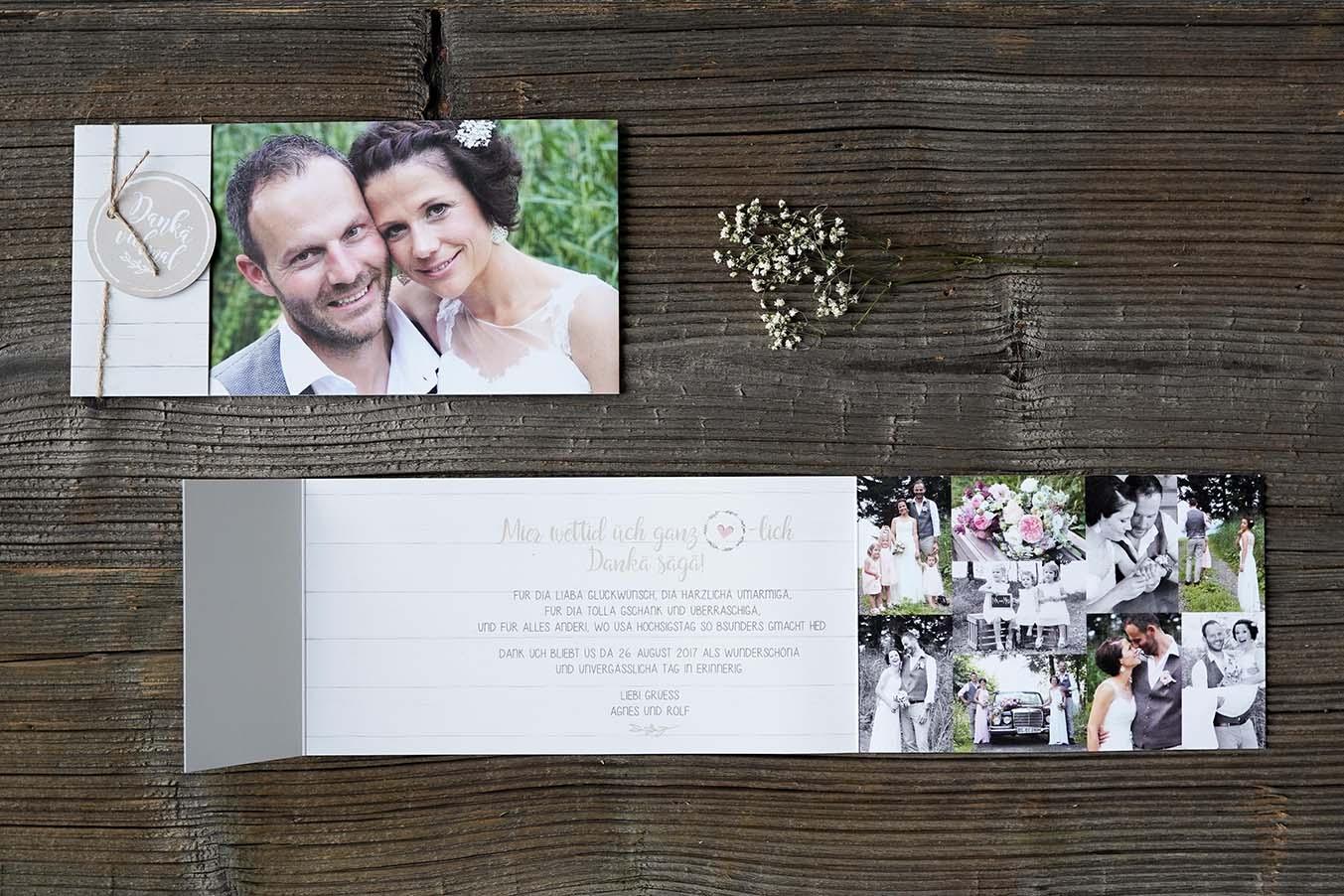 Hochzeitsdankeskarte Rolf & Agnes