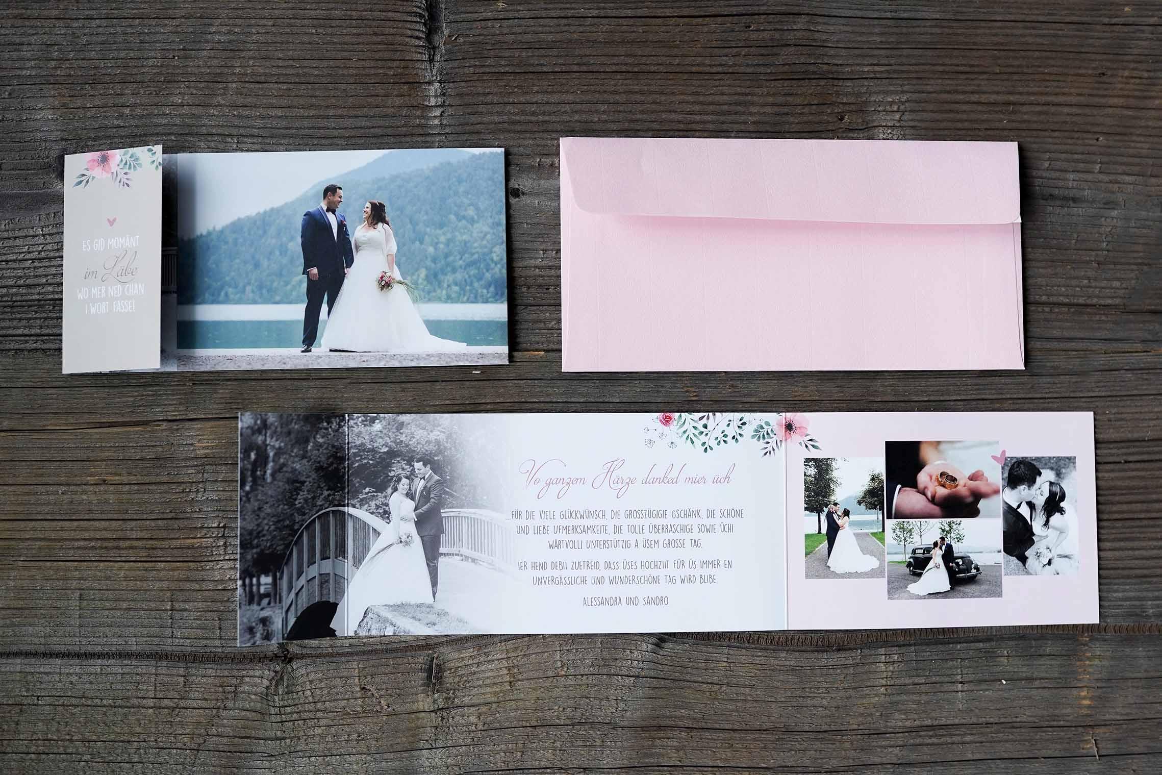 Hochzeitsdankeskarte Sando & Alessandraro &A